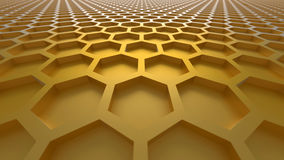 3D abstract background. 3D yellow color abstract cellular lattice background Royalty Free Stock Photography