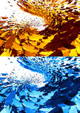 3D abstract backgrounds. 3D Rendered abstract backgrounds modern design in violet and orange colors, glossy glass texture & explosion effect Royalty Free Stock Images
