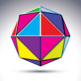 3d abstract ball isolated on white background. Colorful sphere w. Ith bright geometric figures - triangles, rhombs and cubes vector illustration