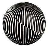 3D abstract ball. Three dimensional sphere with the effect of spiral separation, vector illusion for Christmas tree decoration Stock Photos