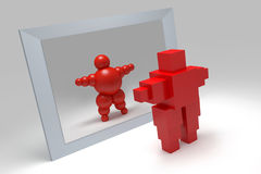 3D abstract. Ballman  character  before the mirror Stock Image
