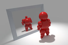3D abstract. Ballman  character  before the mirror Royalty Free Stock Photos