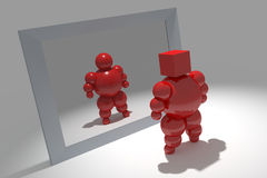 3D abstract. Ballman  character  before the mirror Royalty Free Stock Image