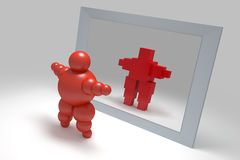 3D abstract. Ballman  characters  before the mirror Royalty Free Stock Image
