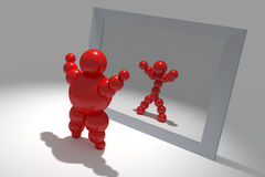3D abstract. Ballman  characters  before the mirror Royalty Free Stock Photography
