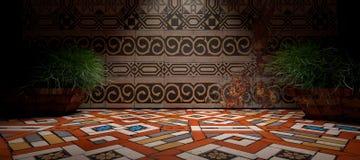 3D abstract binnenland als achtergrond Vloer en muur in donkere scène Royalty-vrije Stock Afbeelding