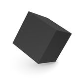 3D abstract black cube isolated on white Royalty Free Stock Image