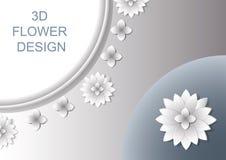 3D Abstract bloemendekkingsontwerp met schaduwen Royalty-vrije Stock Afbeelding