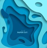 3D abstract blue wave background with paper cut shapes. Vector design layout for business presentations, flyers, posters. Eps10. illustration vector illustration