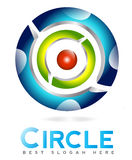 3d abstract circle logo. 3d logo with circles and sphere in the middle Royalty Free Stock Photos