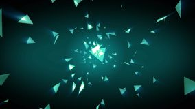 3D Abstract color changing polygon geometric triangle light shape zooming background stock video footage