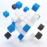 3d abstract colored cubes on white Stock Images