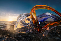 3d abstract composition. In on the sea shore Royalty Free Stock Photo