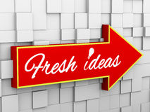 3d abstract cube wall arrow - idea bulb Stock Photos