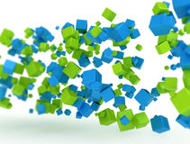 3D abstract cubes. Blue and green 3d cubes with slight shadow and centre focus Royalty Free Stock Photos