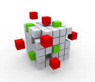 3d abstract cubes. 3d illustration of abstract cubes structure on white background Royalty Free Stock Images