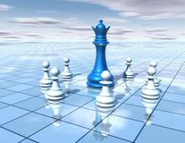3d abstract dimensional background with chess pieces team and blue chess queen, strategy  concept. 3d abstract dimensional background with chess pieces team and Stock Images