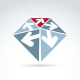 3d abstract emblem with five multidirectional arrows placed in t Royalty Free Stock Photography