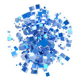 3D abstract explosion of cubes. Isolated on white background Stock Images