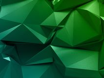 3d abstract faceted background, low polygonal texture, emerald green geometrical pattern, crystal wallpaper. 3d abstract faceted background, low polygonal stock illustration