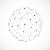 3d abstract faceted figure with connected blue lines and dots. V. Ector low poly design element, cybernetic orb shape with grid and transparent lines mesh Stock Photography