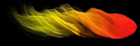 3d abstract with flame colored lines. comet form version. 3d abstract with randomly generated wavy flame colored lines. comet form version. suitable for Stock Image