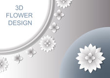 3D Abstract floral cover design with shadows. Royalty Free Stock Image