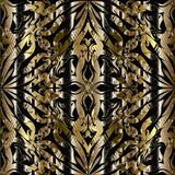 3d abstract floral gold black seamless pattern. Striped ornament. Al vintage background. Ornate textured design. Grunge ornaments with flowers, leaves, stripes Royalty Free Stock Photo