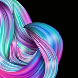 3d abstract fluid design. Colorful modern background. With twisted brush stroke, smear waves, paint splash curl, splatter Stock Photo