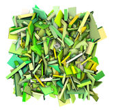 3d abstract fragmented shapes green yellow Stock Photography