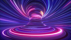 3d abstract futuristic neon background with spinning glowing lines, speed of light, ultra violet rays, twisted electromagnetic