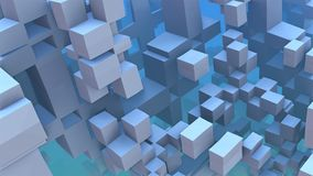 3D Abstract geometric blue cubes and rectangles. 3D illustration Royalty Free Stock Photo