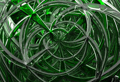 3D abstract geometric glass spirals. 3D abstract background with geometric glass intersection spirals Stock Images