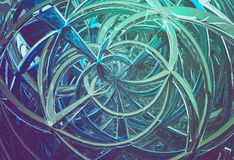 3D abstract geometric glass spirals. 3D abstract background with geometric glass intersection spirals Stock Photos
