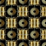 3d abstract geometric gold greek seamless pattern. Ornnate geome. Trical chekered background. Golden vintage geometry check ornaments with circles, squares Stock Photo