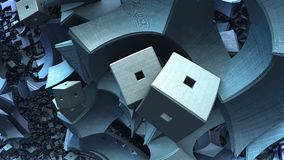 3D Abstract geometric shape from blue cubes. 3D illustration Royalty Free Stock Image