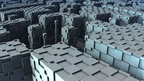 3D Abstract geometric shape from blue cubes Stock Photography