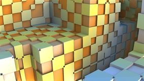 3D Abstract geometric shape from colorful cubes. 3D illustration Royalty Free Stock Images