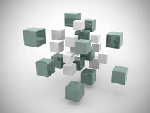 3d abstract geometric shapes from cubes. 3d render Stock Photography