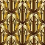 3d abstract geweven gouden vector naadloos patroon Overladen geklets vector illustratie