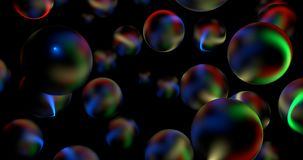 3D Abstract Glossy Spheres In Dark. 3D Abstract Glossy Spheres With Rainbow Light Rays Reflections In Dark Royalty Free Illustration