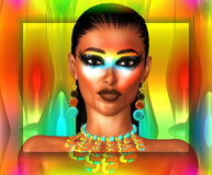 3D Abstract Glowing Face, Close Up, Woman. 3D Fashion face on gradient background of orange, turquoise and gold. Her makeup and accessories speak of the latest Stock Image