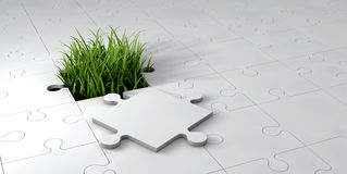 3d Abstract grass in a hole of puzzle. A 3d Abstract grass in a hole of puzzle Stock Photo