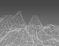 3d abstract gray background with fractal mountains, Royalty Free Stock Photography