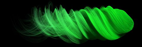 3d abstract with green lines. comet form version. 3d abstract with randomly generated wavy green lines. comet form version. suitable for imagination, creativity Royalty Free Stock Photos
