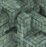 3d abstract grunge mosaic tile cube backdrop in blue green. Abstract grunge mosaic tile cube backdrop in blue green Stock Image