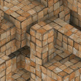3d abstract grunge mosaic tile cube backdrop in orange rust Royalty Free Stock Photos