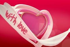 3d abstract hart van liefde op de gradiëntachtergrond Stock Fotografie
