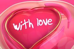 3d abstract hart van liefde op de gradiëntachtergrond Stock Afbeelding