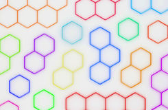 3D abstract honeycomb background. 3D generated colorful honeycomb illustration as a background Stock Image